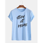 New              Mens Stay At Home Slogan Casual Round Neck Short Sleeve Casual T-Shirts