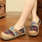 New              Women Linen Straw Pattern Casual Slip On Espadrille Flat Loafers