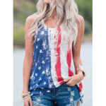 New              America Flag Print O-neck Sleeveless Casual Tank Tops