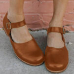 New              Women Retro Solid Color Comfy Buckle Strap Mary Jane Flats