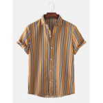 New              Mens Vintage Striped Breathable Short Sleeve Casual Shirts