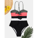 New              Women Swimwear Color Block Tie Front Tie Back One Piece