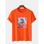 New              Men 100% Cotton Fun Pilot Cat Print Casual Home Short Sleeve T-Shirts