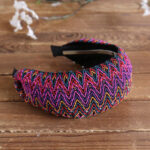New              Bohemian Style Wide Hair Hoop Headband Ethnic Style Colorful Striped Fabric Hair Hoop Travel Home Leisure Hair Band