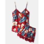 New              Women Sleeveless Tropical Print Lace Trim V-Neck Smooth Home Pajama Set