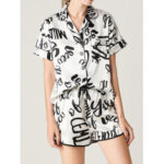 New              Women Graffiti Letter Print Revere Collar Short Sleeve Smooth Home Ice Silk Pajama Set