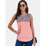New              Leopard Print Patchwork V-neck Sleeveless Women Casual Tank Tops