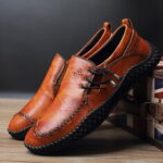 New              Menico Men Hand Stricing Slip Resistant Side Elastic Lace Casual Leather Flats