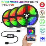 New              1M/2M/3M/4M/5M RGB bluetooth APP LED Strip Light 5050SMD Flexible Waterproof Music Control TV Backlight DC5V