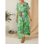 New              Vintage Ethnic Style Printed Short Sleeve Maxi Dress With Pocket
