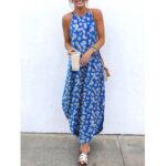 New              Daisy Print Bohemian Summer Sleeveless Irregular Hem Maxi Dress