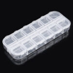 New              12 Grid Jewelry Pill Case Organizer Double Row Independent Open Lid Storage Box