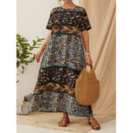 New              Bohemia Vintage Floral Printed Short Sleeve Button Maxi Dress with Pockets