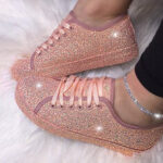 New              Women Sequined Low Top Breathable Wearable Casual Flats