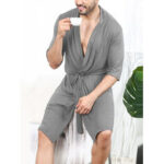 New              Mens Sashes Designed Solid Color Loose Comfy Home Bathrobe Sleepwear Robes