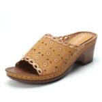 New              LOSTISY Flower Embroidered Chunky Heel Peep Toe Sandals