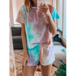 New              Tie Dye Print Loungewear Set Dradient Short Sleeve Two Piece Pajamas
