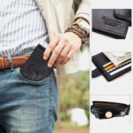 New              Men Genuine Leather RFID 8 Card Slots Bifold Wallet Purse Zipper Coin Bag