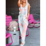 New              Tie Dye Print Sports Loungewear Set Tank Top Beam Feet Sleeveless Two-Piece Set