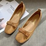 New              Women Bow Decor Comfy Square Toe Soft Sole Casual Slip On Loafers