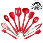 New              10PCS Silicone Kitchen Utensils Kitchenware Set Tableware Cooking Tools with Non-Stick Cookware Pan Scoops