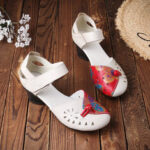 New              Women Folkways Breathable Hollow Genuine Leather Hook Loop Low Heels Sandals