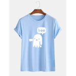 New              Mens Funny Cartoon Ghost O-Neck Breathable Short Sleeve T-Shirts