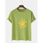 New              Mens Sun Print Graffiti Casual Short Sleeve T-Shirts