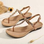 New              Women Rhinestone Buckle Strap Comfy Non Slip Beach Clip Toe Sandals