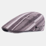 New              Cotton Linen Beret Caps Casual Forward Hat Colorful Striped Sun Hat
