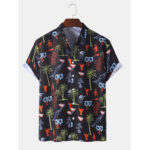 New              Mens Funny Graffiti Print Holiday Button Up Beach Casual Short Sleeve Shirts