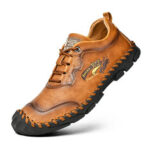 New              Men Genuine Leather Hand Stitching Slip Resistant Casual Shoes