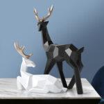 New              Geometry Deer Reindeer Craft Home Party Decor Xmas Elk Resin Ornaments