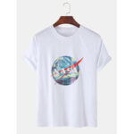 New              Mens Starry Sky Print Crew Neck Short Sleeve T-Shirts