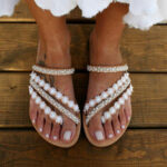 New              Women Bohemia Beading Slip On Casual Beach Summer Flat Sandals