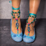 New              LOSTISY Comfortable Bohemia Embroidery Floral Slip On Flat Shoes