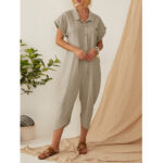 New              Vintage Solid Color Button Down Turn-down-collar Jumpsuit For Women