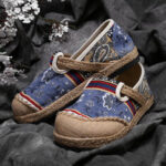 New              Women Linen Old Peking Printing Stricing Slip On Loafers