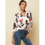 New              Casual Loose Graffiti Art Print Lapel Button Pocket Blouse For Women