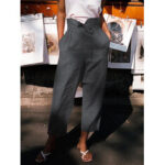 New              Women Solid Color High Waist Belted Side Pocket Casual Pants