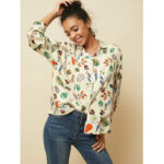 New              Fruit Vegetable Printing Button Long Sleeved Loose Lapel Casual Blouse For Women