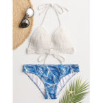 New              Women White Triangle Halter String Crochet Top Tropical Leaves Print Hawaii Casual Bikini
