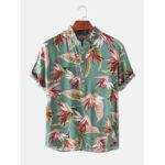 New              Mens Holiday Strelitzia Print Short Sleeve Casual Henley Shirts