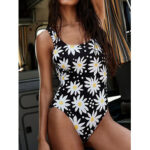 New              Women Daisy Floral Print Backless One Piece Black Swimwear