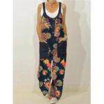 New              Vintage Floral Print Sleeveless Wide Shoulder Strap Casual Straight Jumpsuit