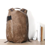 New              Men Vintage USB Charging Port Faux Leather Large Capacity Backpack Travel Bag