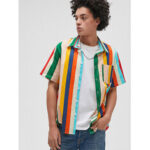 New              Mens Colorful Stripe 100% Cotton Breathable Pocket Casual Shirts