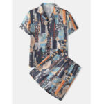 New              Mens Ethnic Abstract Print Rereve Collar Pajama Set Two Pieces Breathable Home Sleepwear