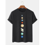 New              Mens 100% Cotton Planet Print Crew Neck Short Sleeve T-Shirts