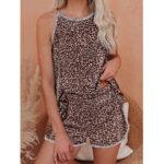 New              Women Leopard Sleeveless Softies Round Neck Loose Pajama Set